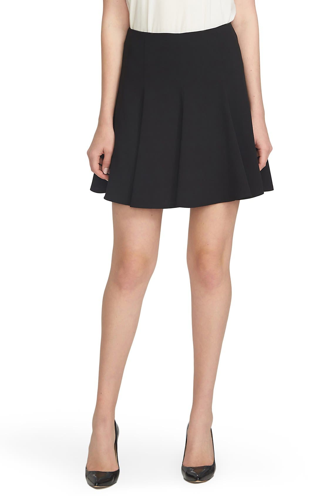 Crepe Flounce Skirt,                             Main thumbnail 1, color,                             Rich Black