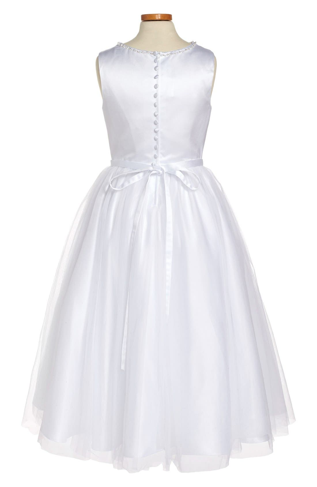 Beaded Satin & Tulle First Communion Dress,                             Alternate thumbnail 2, color,                             White