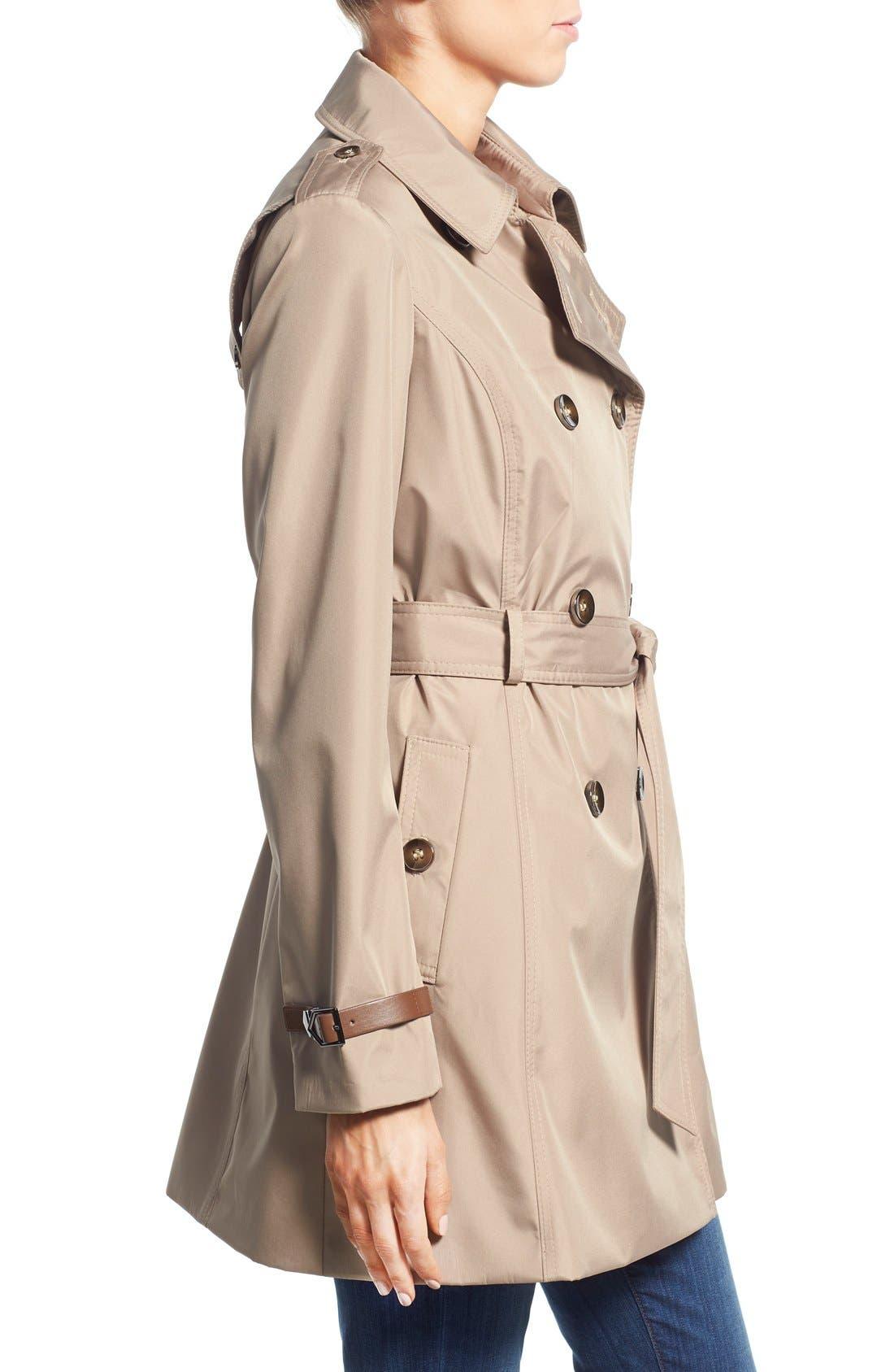 Alternate Image 3  - Via Spiga Faux Leather Trim Trench Coat