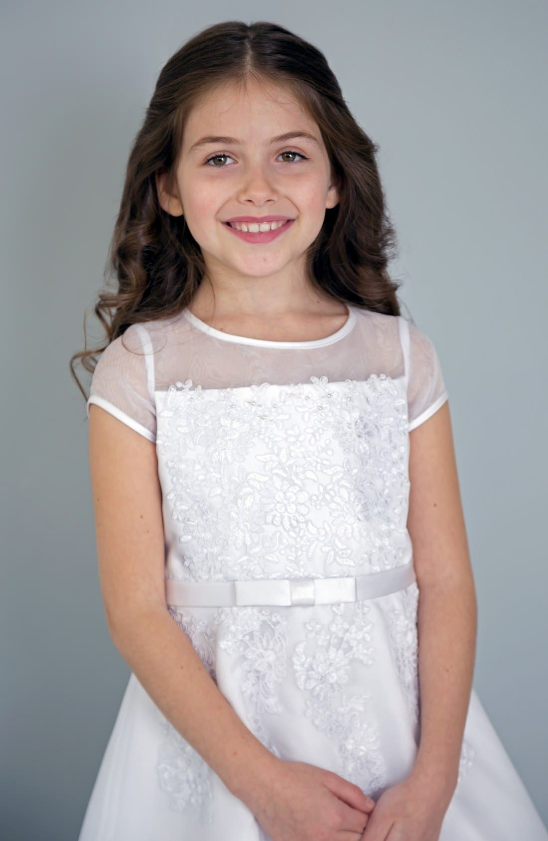 Alternate Image 2  - Us Angels Illusion Neckline Fit & Flare Dress (Little Girls & Big Girls)