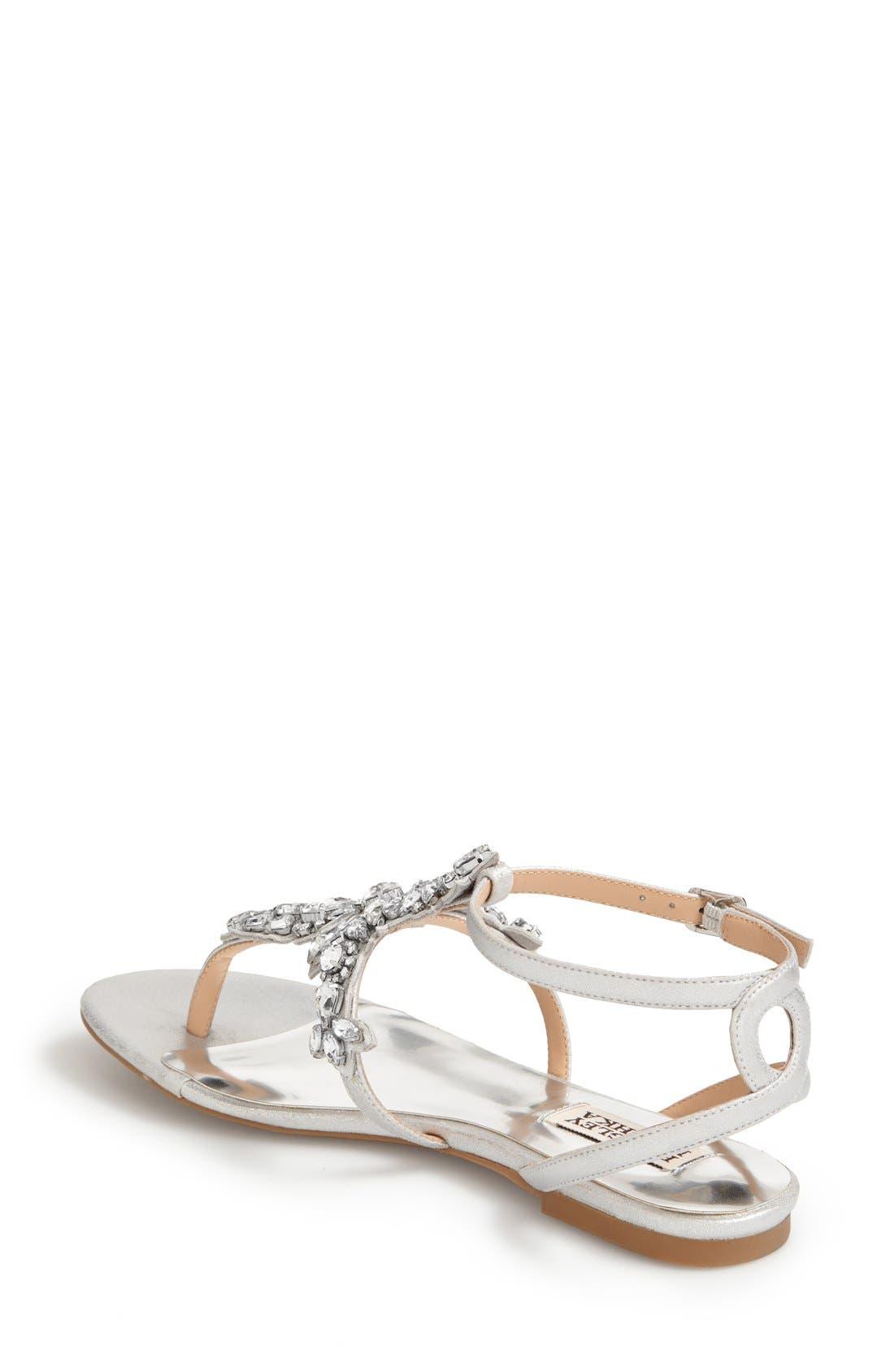 'Cara' Crystal Embellished Flat Sandal,                             Alternate thumbnail 2, color,                             Silver