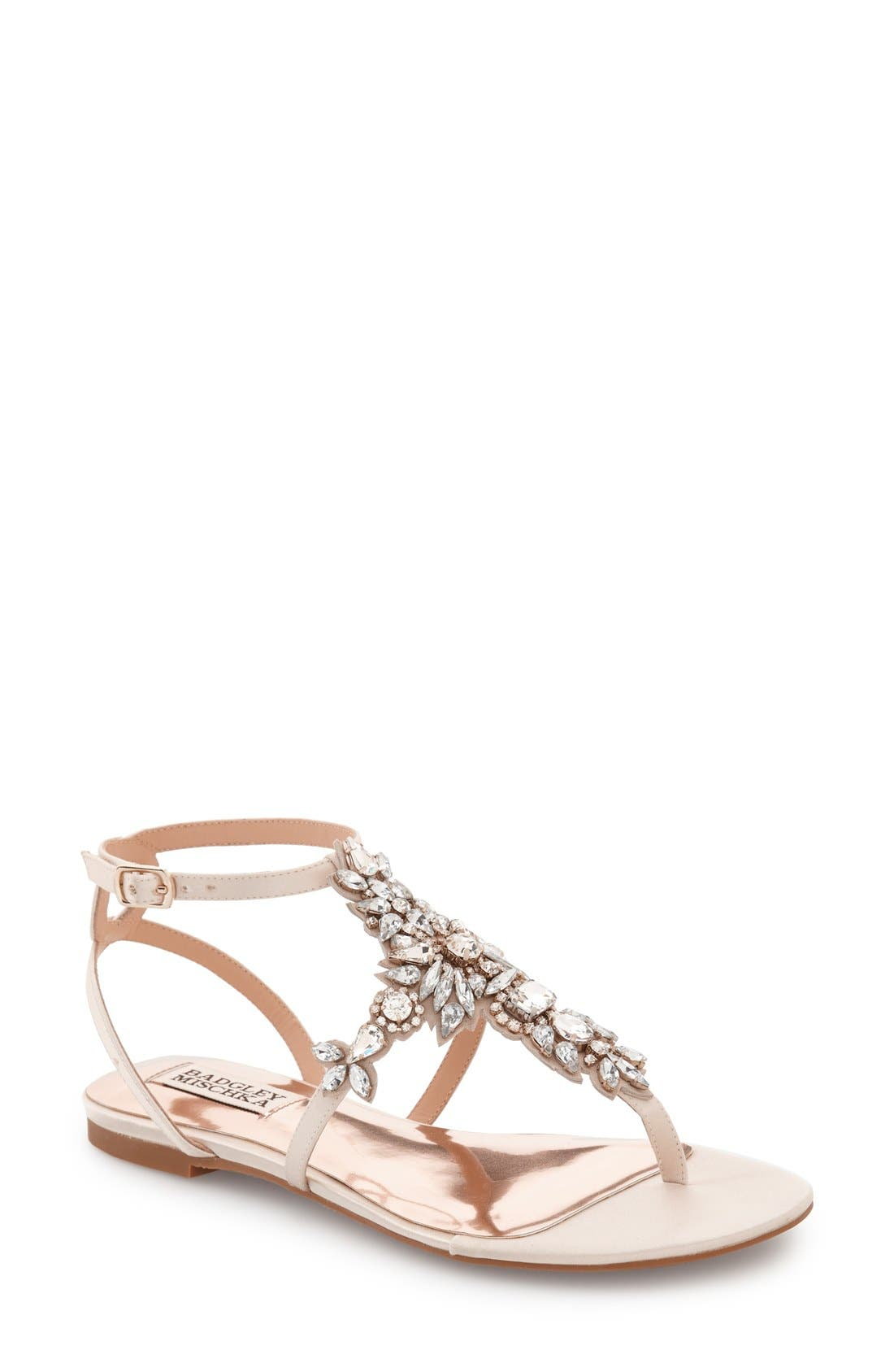 Badgley Mischka Cara Embellished Flat Evening Sandals Women's Shoes knoCcA