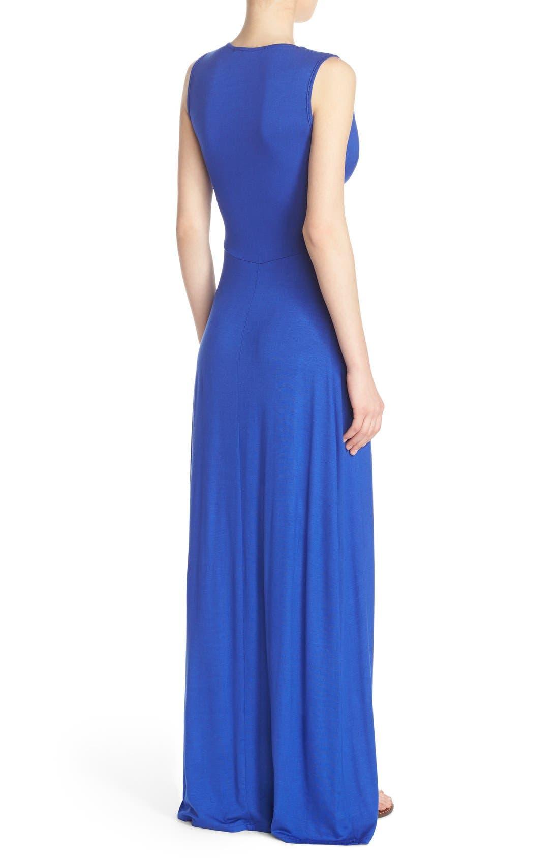 Alternate Image 2  - Fraiche by J Deep V-Neck Jersey Maxi Dress