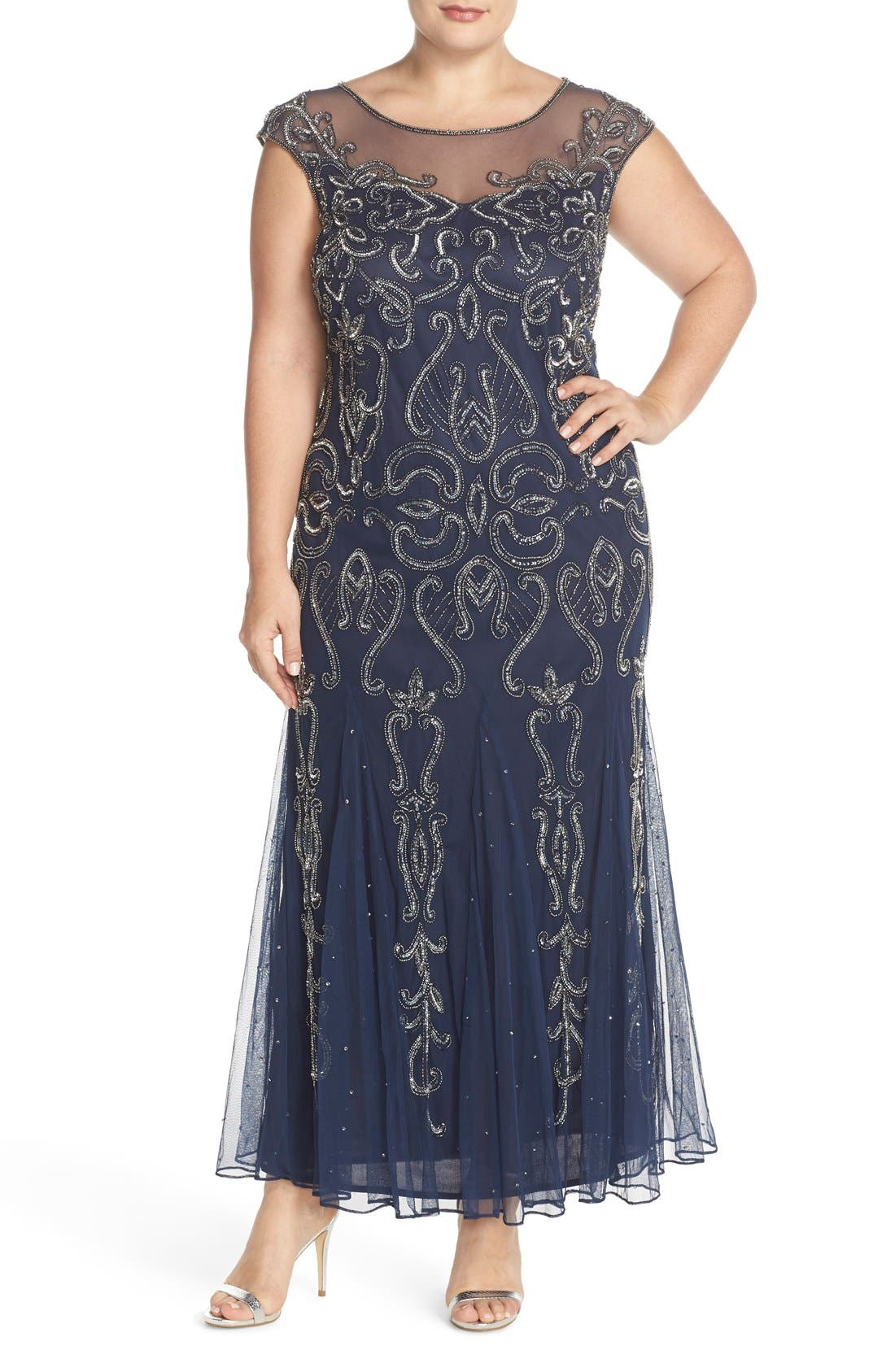 Alternate Image 1 Selected - Pisarro Nights Illusion Neck Beaded A-Line Gown (Plus Size)