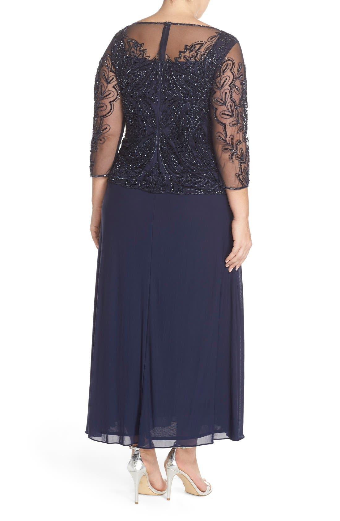 Illusion Neck Beaded A-Line Gown,                             Alternate thumbnail 2, color,                             Navy