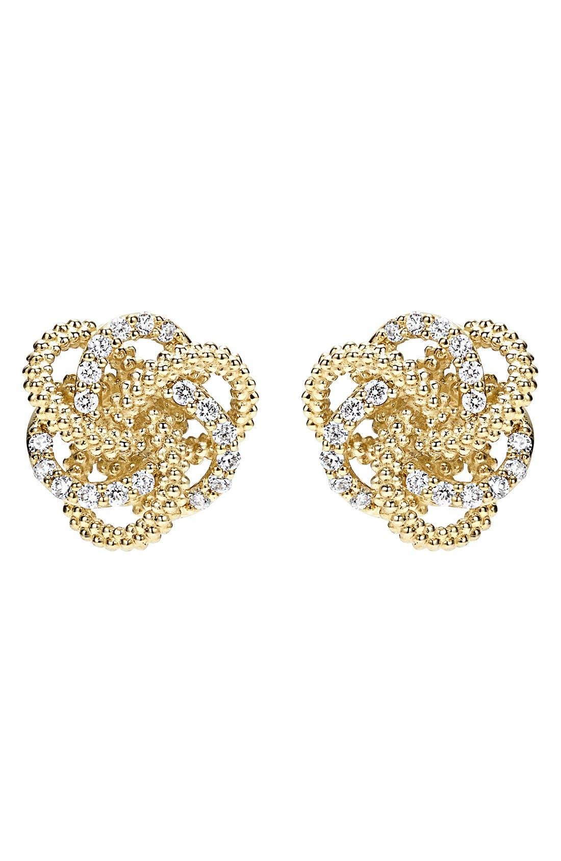 'Love Knot' Diamond Stud Earrings,                             Alternate thumbnail 2, color,                             Gold