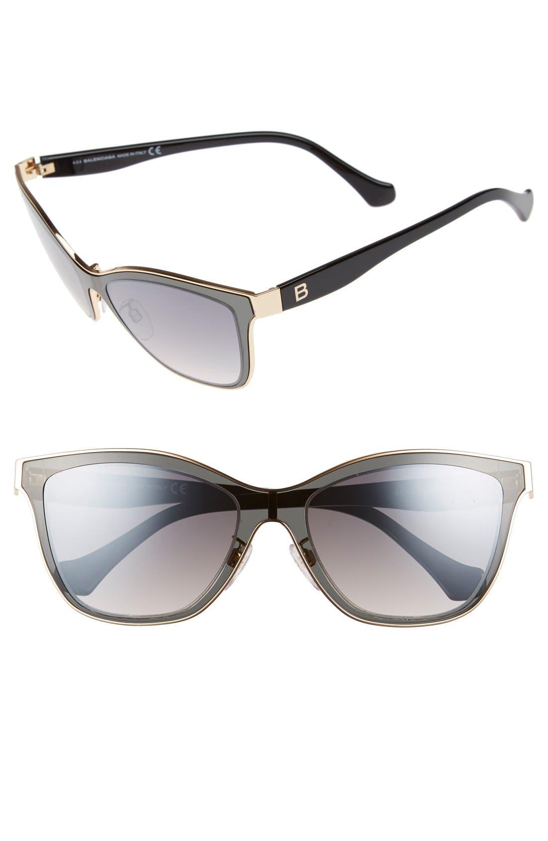 Paris 54mm Sunglasses,                         Main,                         color, Rose Gold/ Black/ Smoke