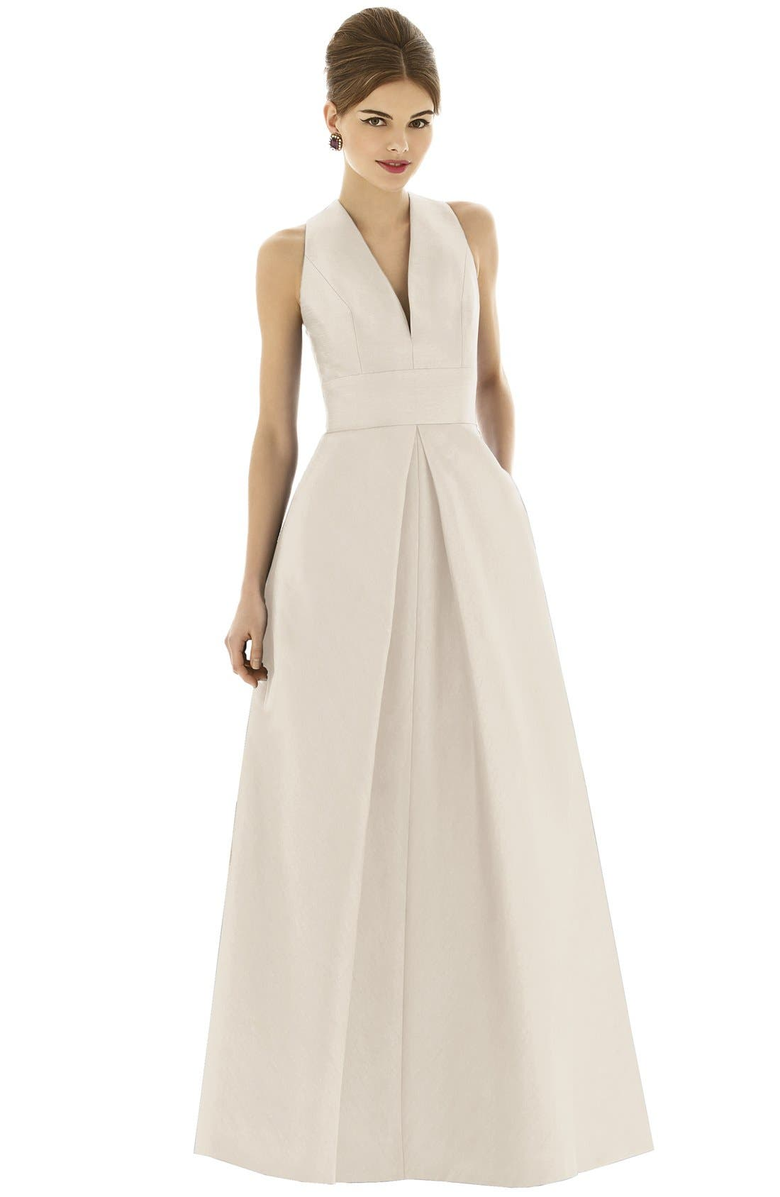 Alternate Image 1 Selected - Alfred Sung Dupioni A-Line Gown