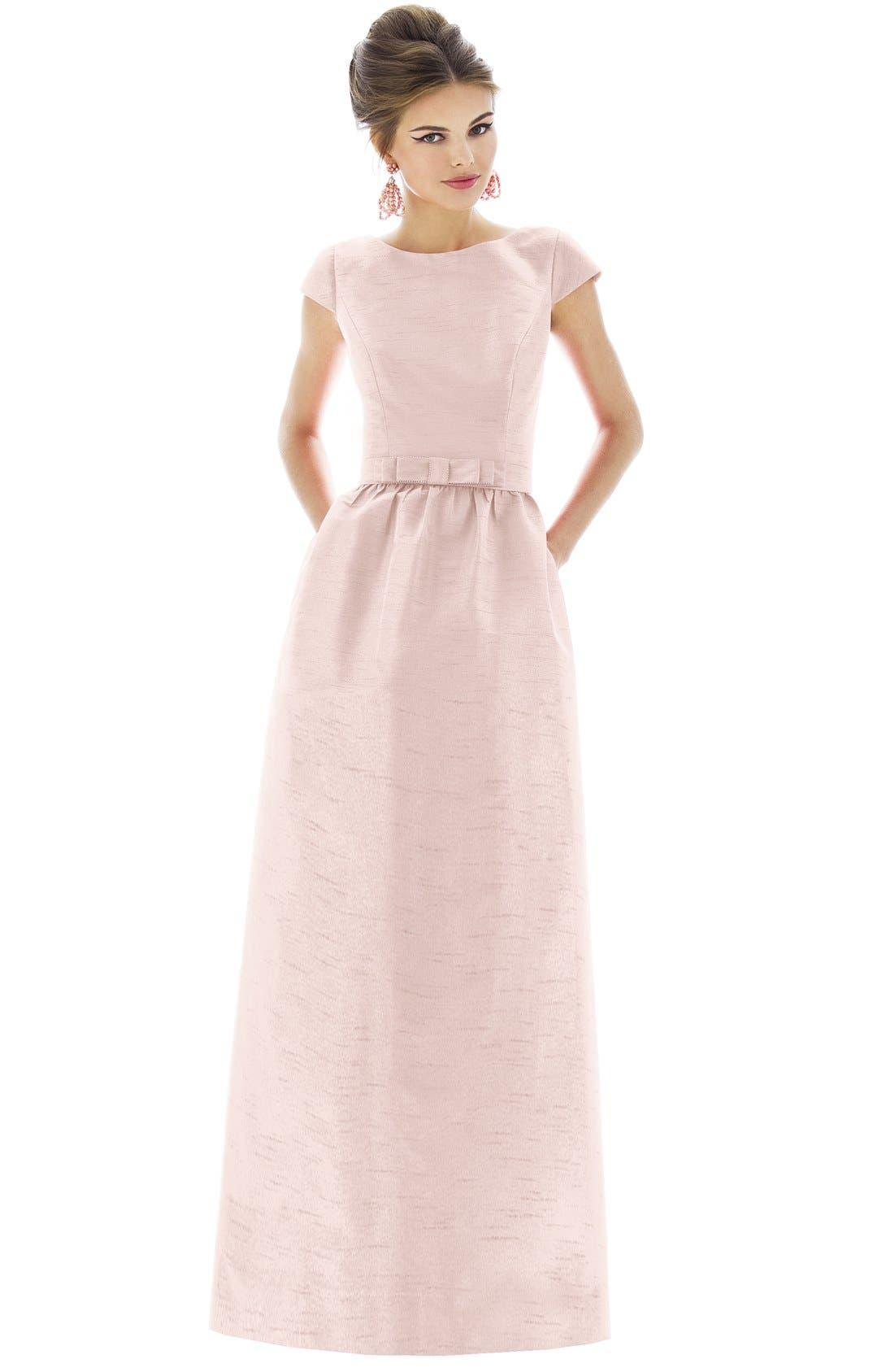 Alfred Sung Cap Sleeve Dupioni Full Length Dress