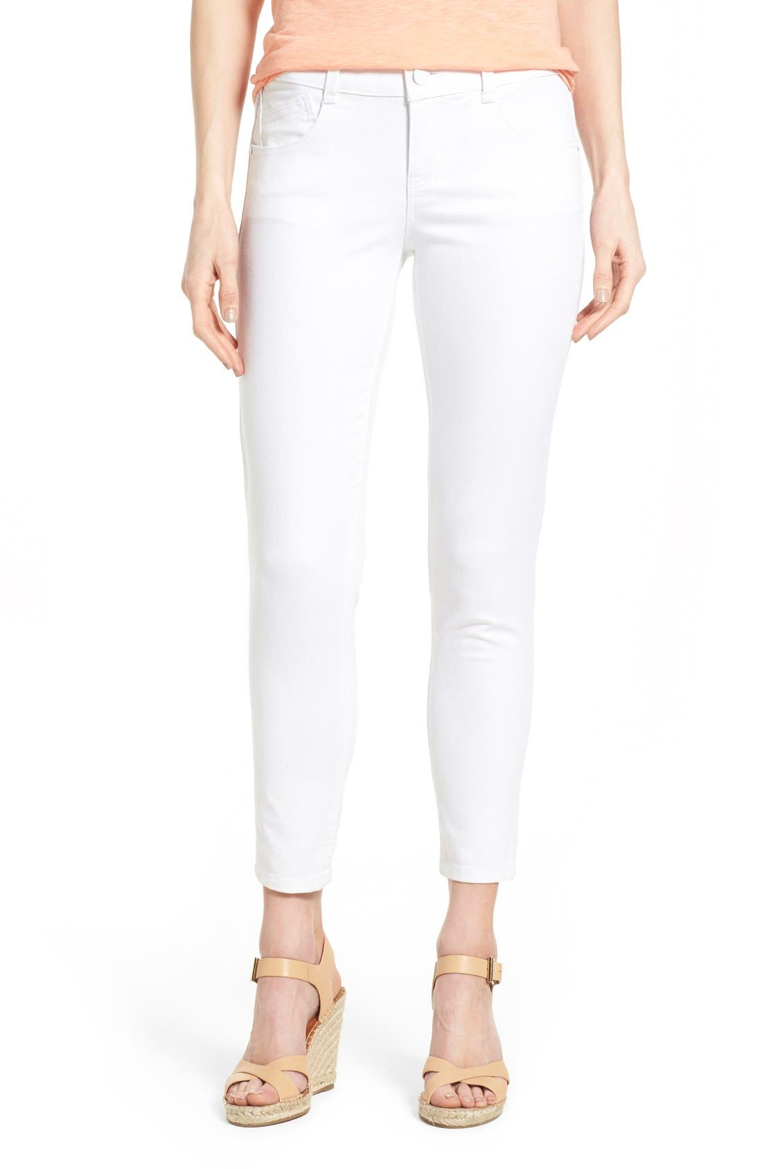Alternate Image 1 Selected - Wit & Wisdom Ab-solution Stretch Ankle Skinny Jeans (Optic White) (Nordstrom Exclusive)