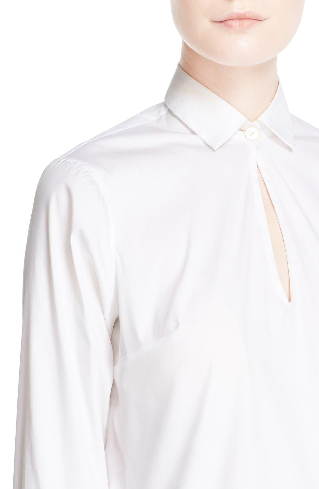 Keyhole Neck Poplin Shirt,                             Alternate thumbnail 5, color,                             White