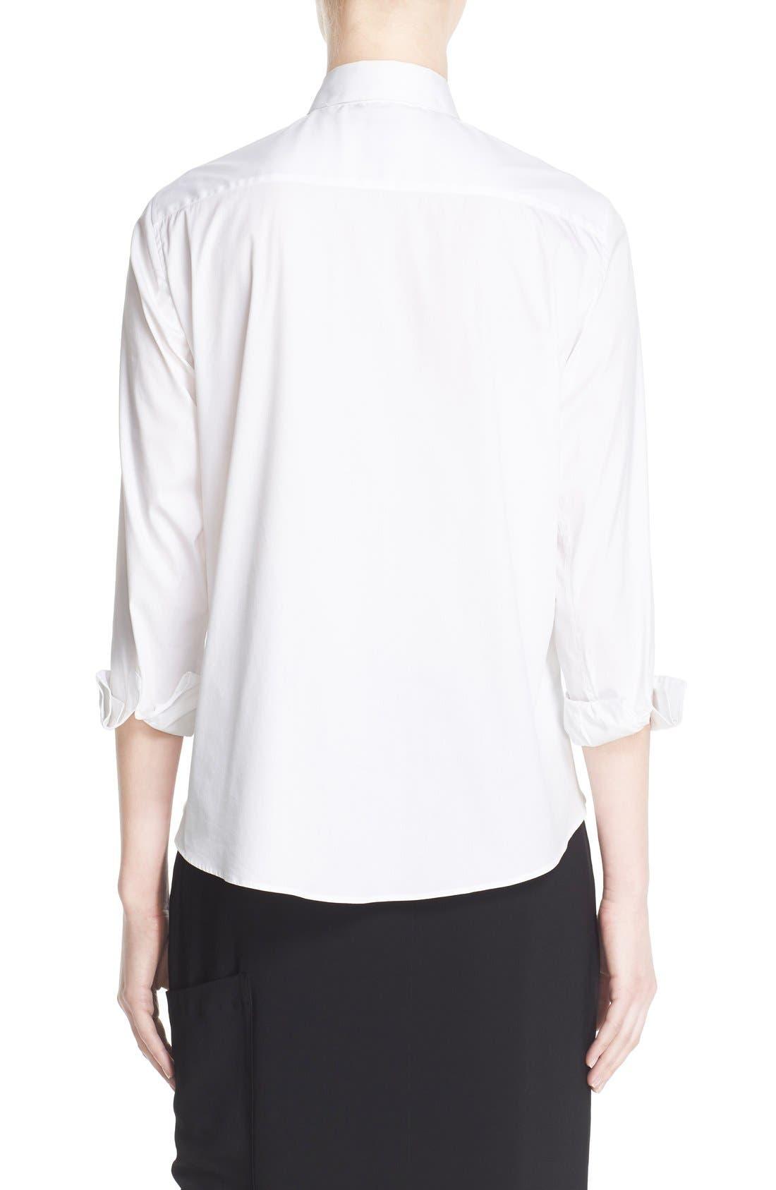 Keyhole Neck Poplin Shirt,                             Alternate thumbnail 3, color,                             White