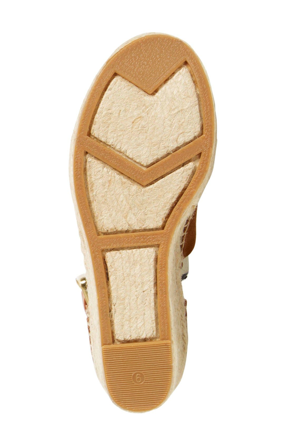 'Adalyn' Espadrille Wedge Sandal,                             Alternate thumbnail 4, color,                             Tan/ Saddle