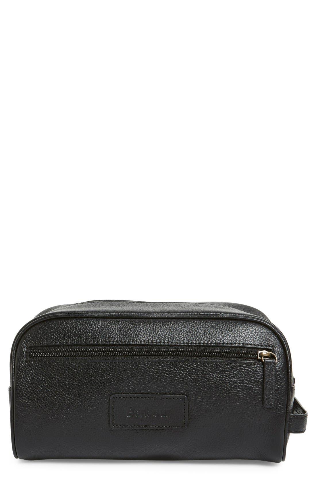 Leather Travel Kit,                         Main,                         color, Black