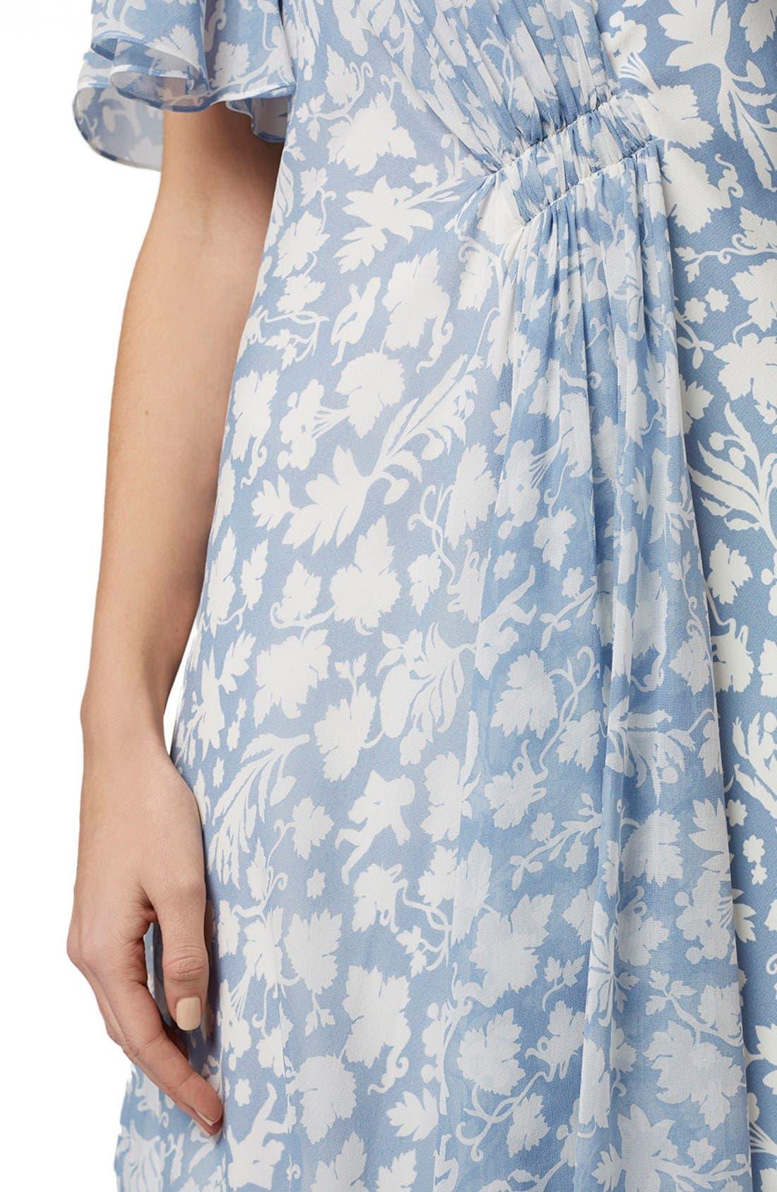 Alternate Image 6  - Topshop Unique 'Belfour' Floral Print Silk Dress