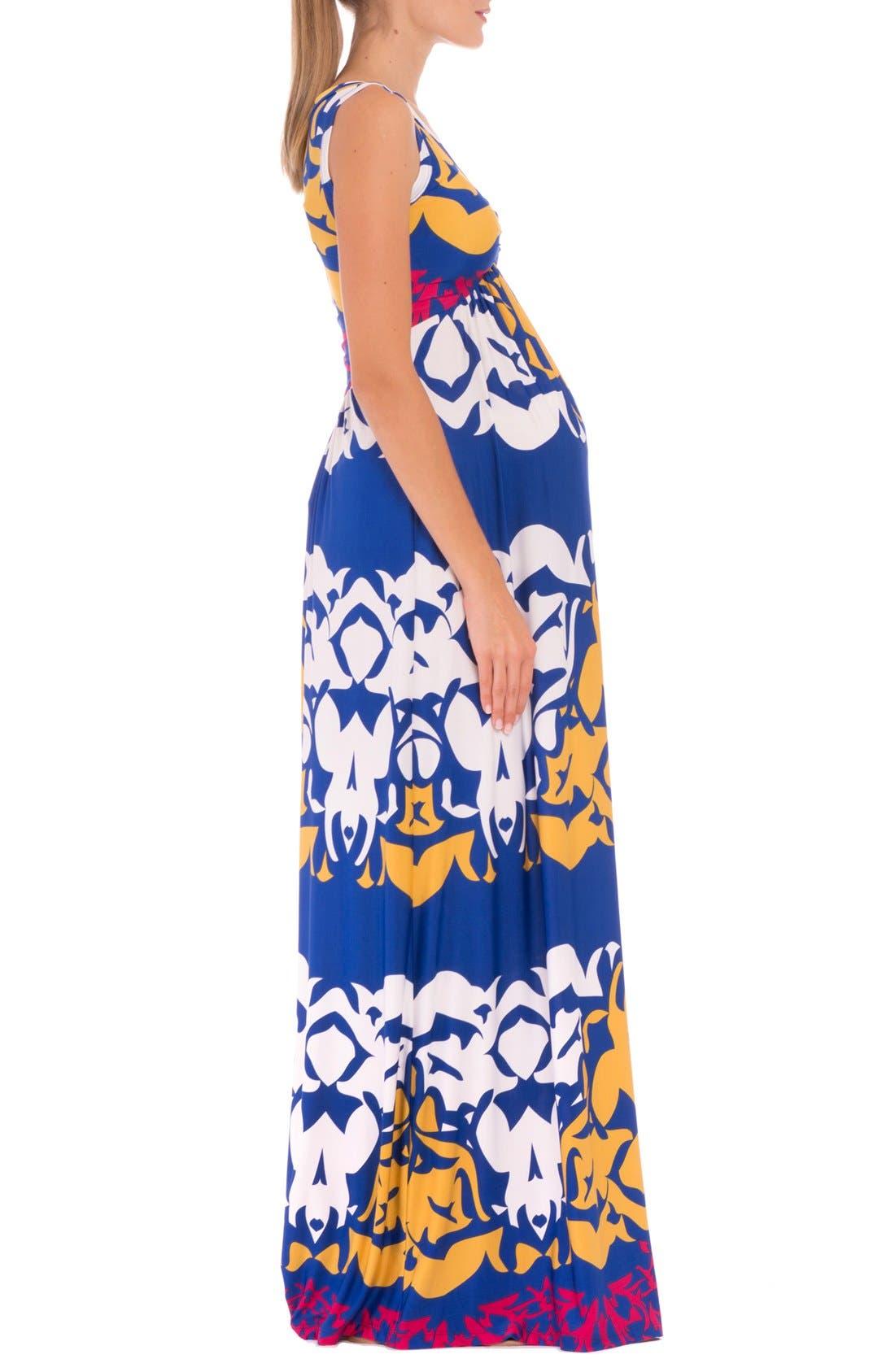 'Ellie' Print Maternity Maxi Dress,                             Alternate thumbnail 4, color,                             Blue Multi