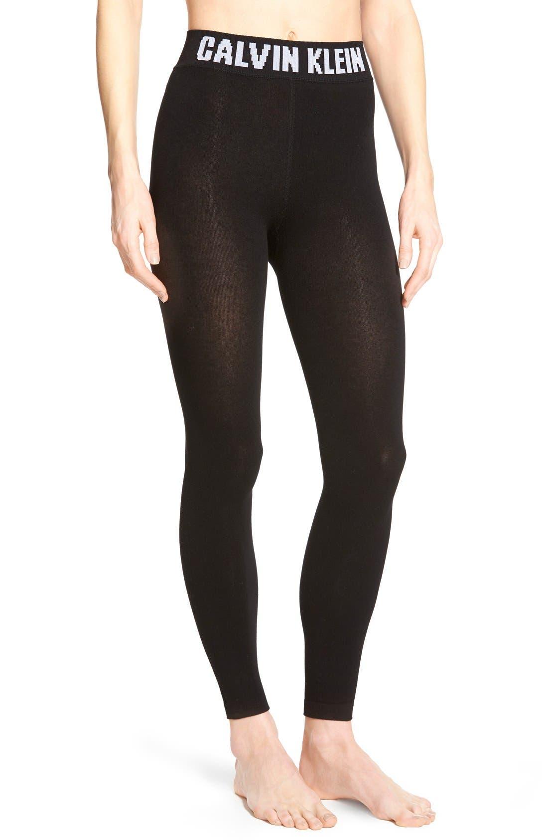 Alternate Image 1 Selected - Calvin Klein 'Retro' Logo Leggings