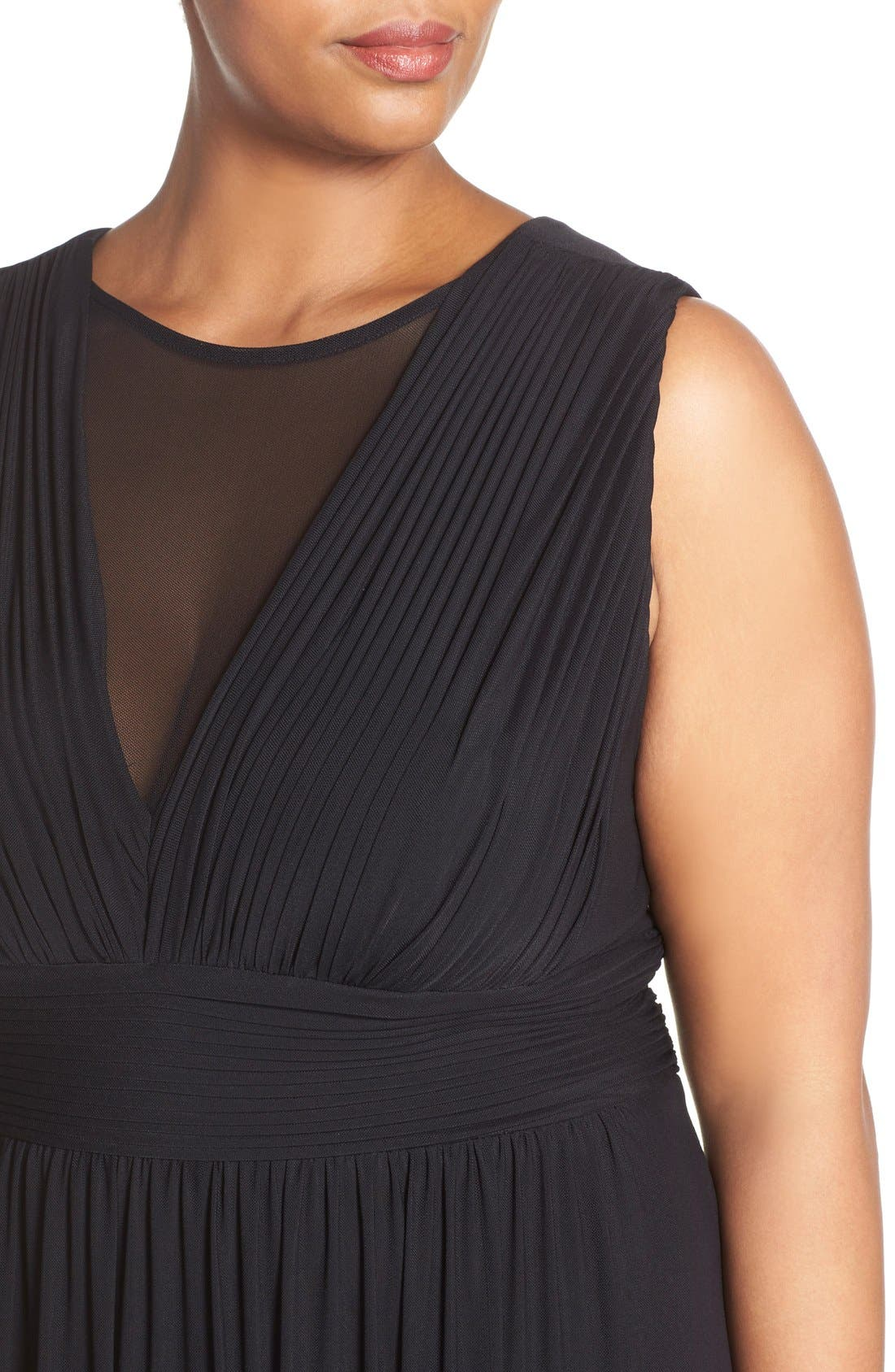 Alternate Image 4  - Marina Illusion Neck A-Line Gown (Plus Size)
