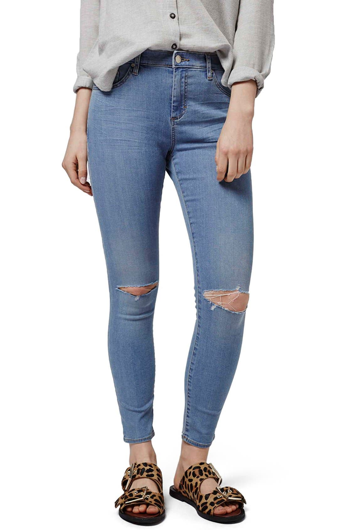 Alternate Image 1 Selected - Topshop 'Leigh' Ankle Skinny Jeans (Petite)