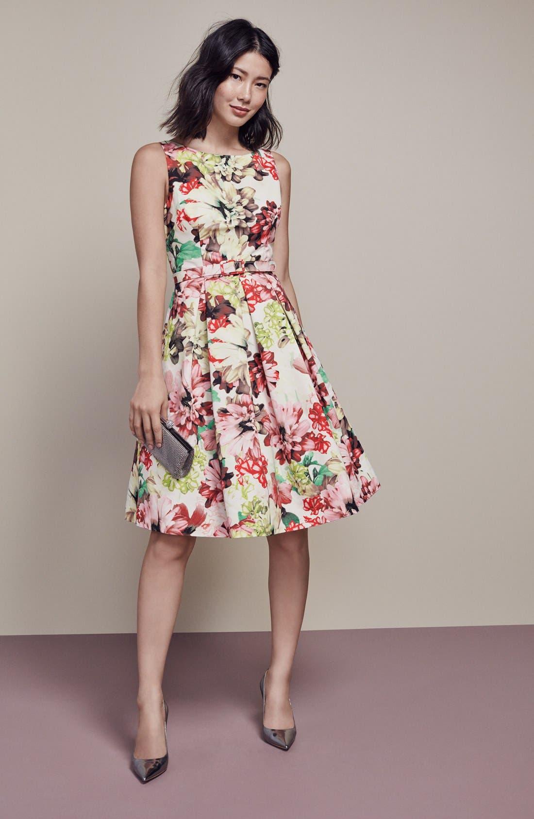 Alternate Image 8  - Eliza J Belted Floral Print Faille Fit & Flare Dress