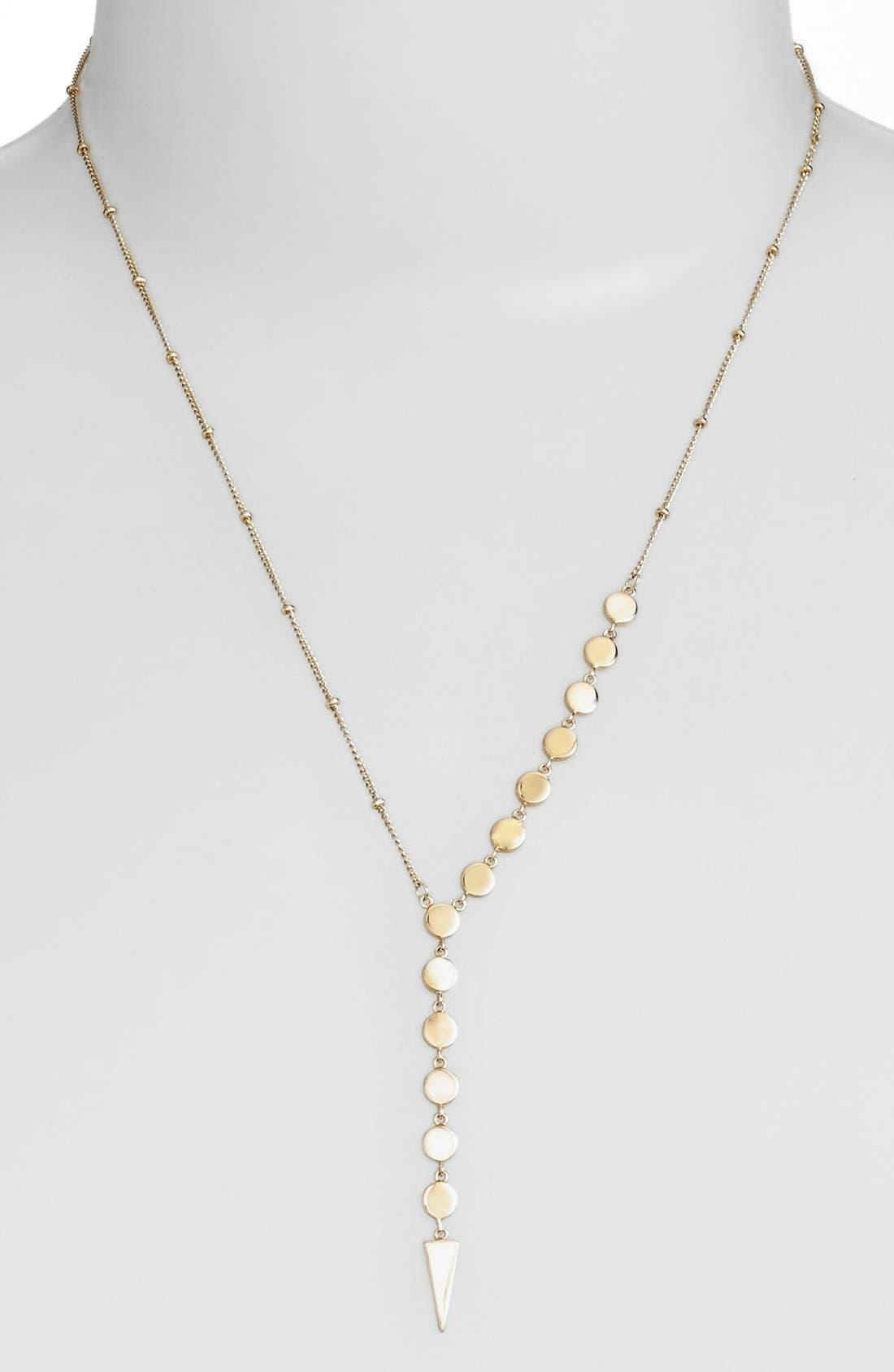 Disc Y-Necklace,                         Main,                         color, Gold