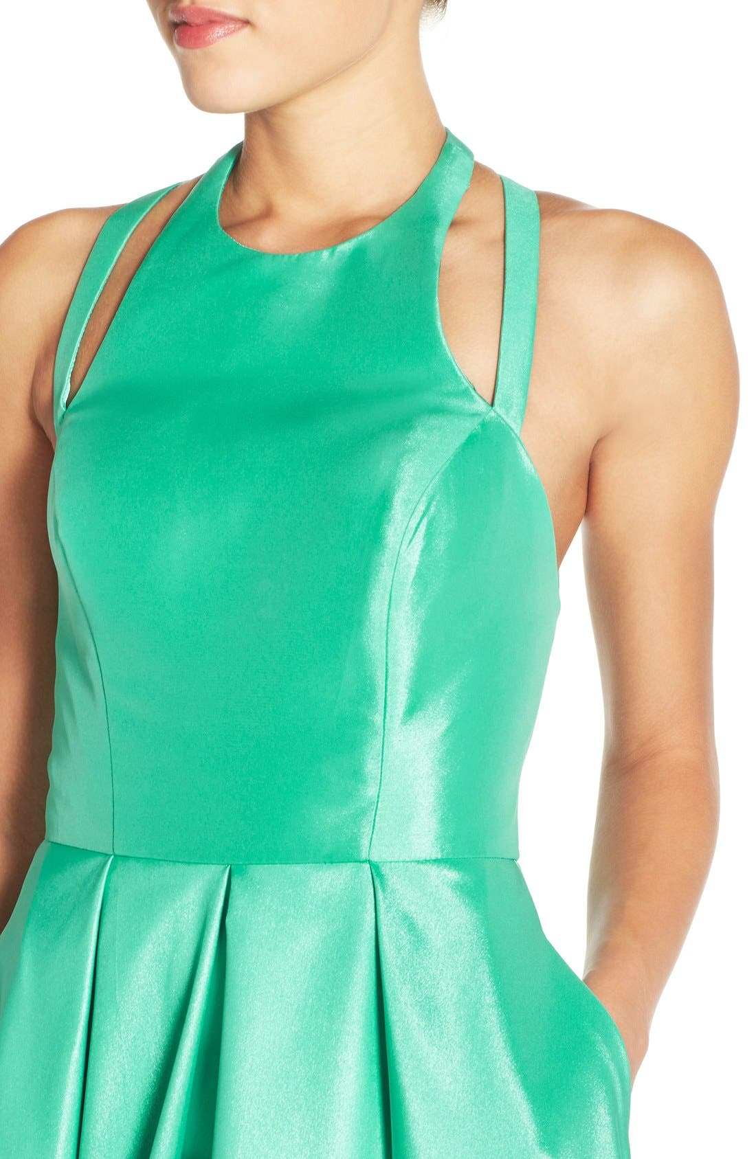 Shimmer Satin Halter Gown with Underskirt,                             Alternate thumbnail 4, color,                             Spearmint