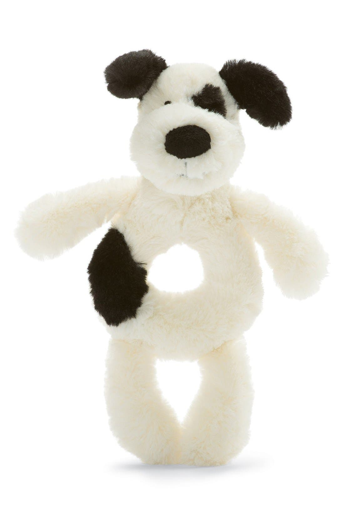 'Dog' Grabber Rattle,                             Alternate thumbnail 2, color,                             Cream/ Black