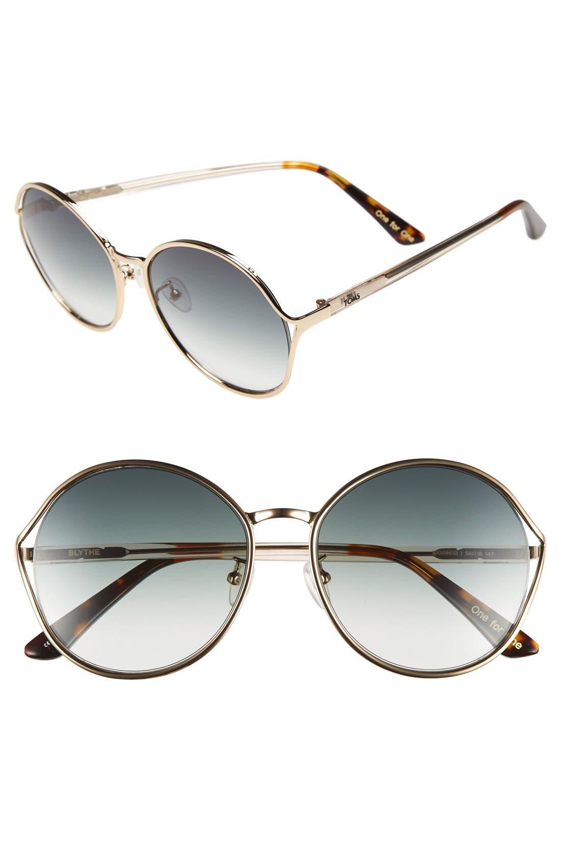'Blythe' 57.5mm Sunglasses,                             Main thumbnail 1, color,                             Rose Gold