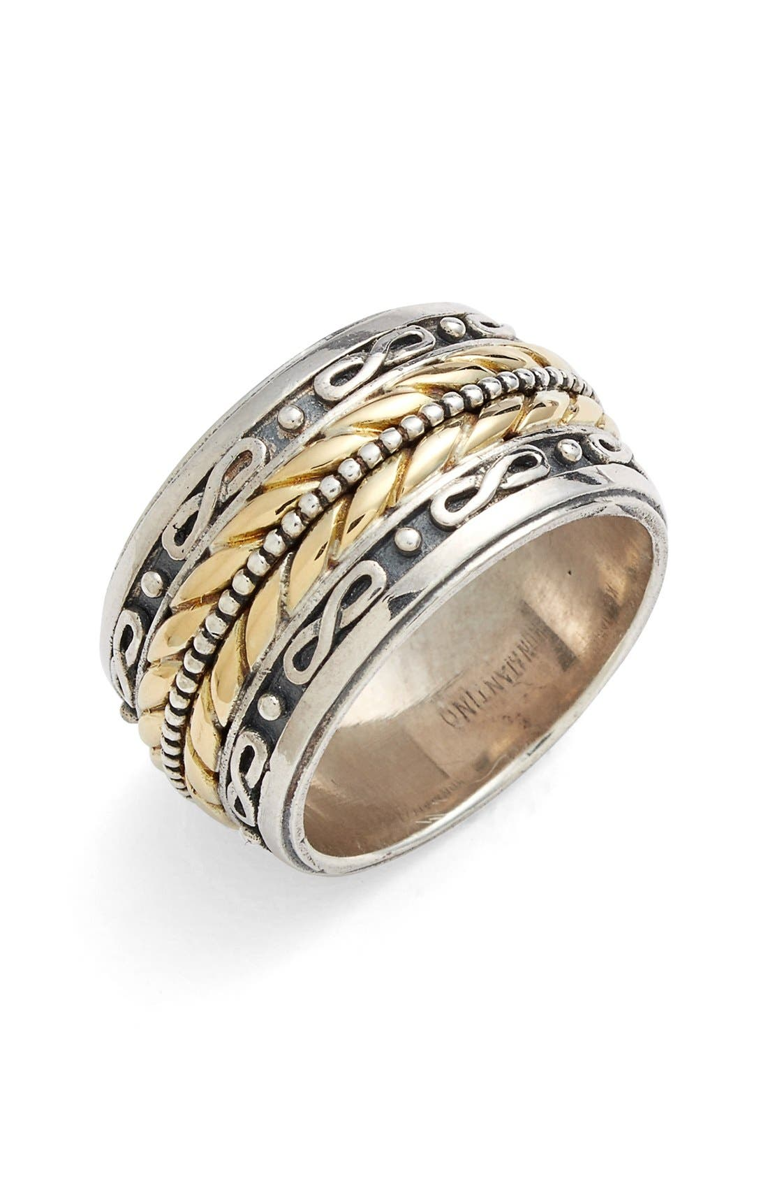 'Orpheus' Etched Band Ring,                             Main thumbnail 1, color,                             Silver/ Gold
