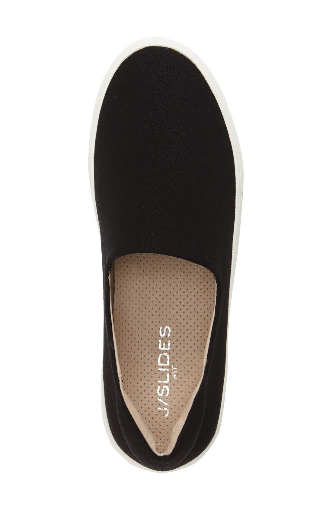 'Ariana' Platform Sneaker,                             Alternate thumbnail 3, color,                             Black Fabric