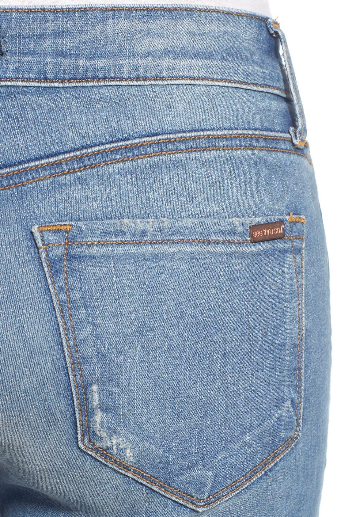 Alternate Image 4  - STS Blue Crop Raw Hem Skinny Jeans