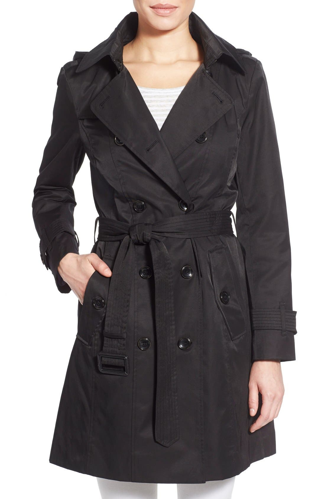 Alternate Image 1 Selected - London Fog Hooded Double Breasted Trench Coat (Regular & Petite)