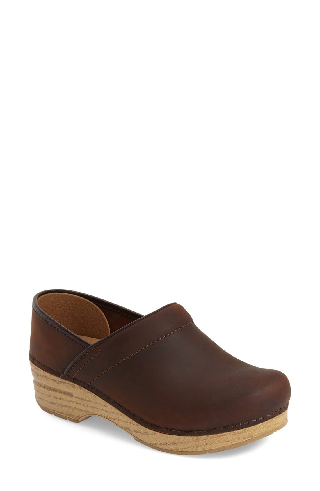 'Professional' Oiled Leather Clog,                         Main,                         color, Antique Brown Oiled Leather