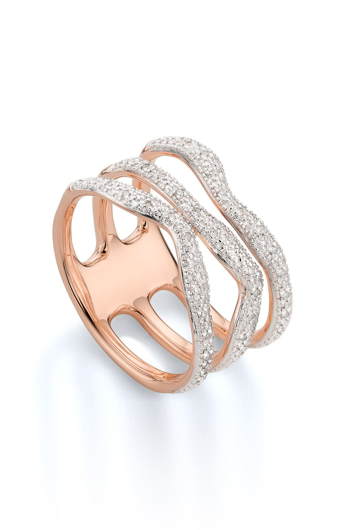Alternate Image 1 Selected - Monica Vinader 'Riva' Three Band Diamond Ring