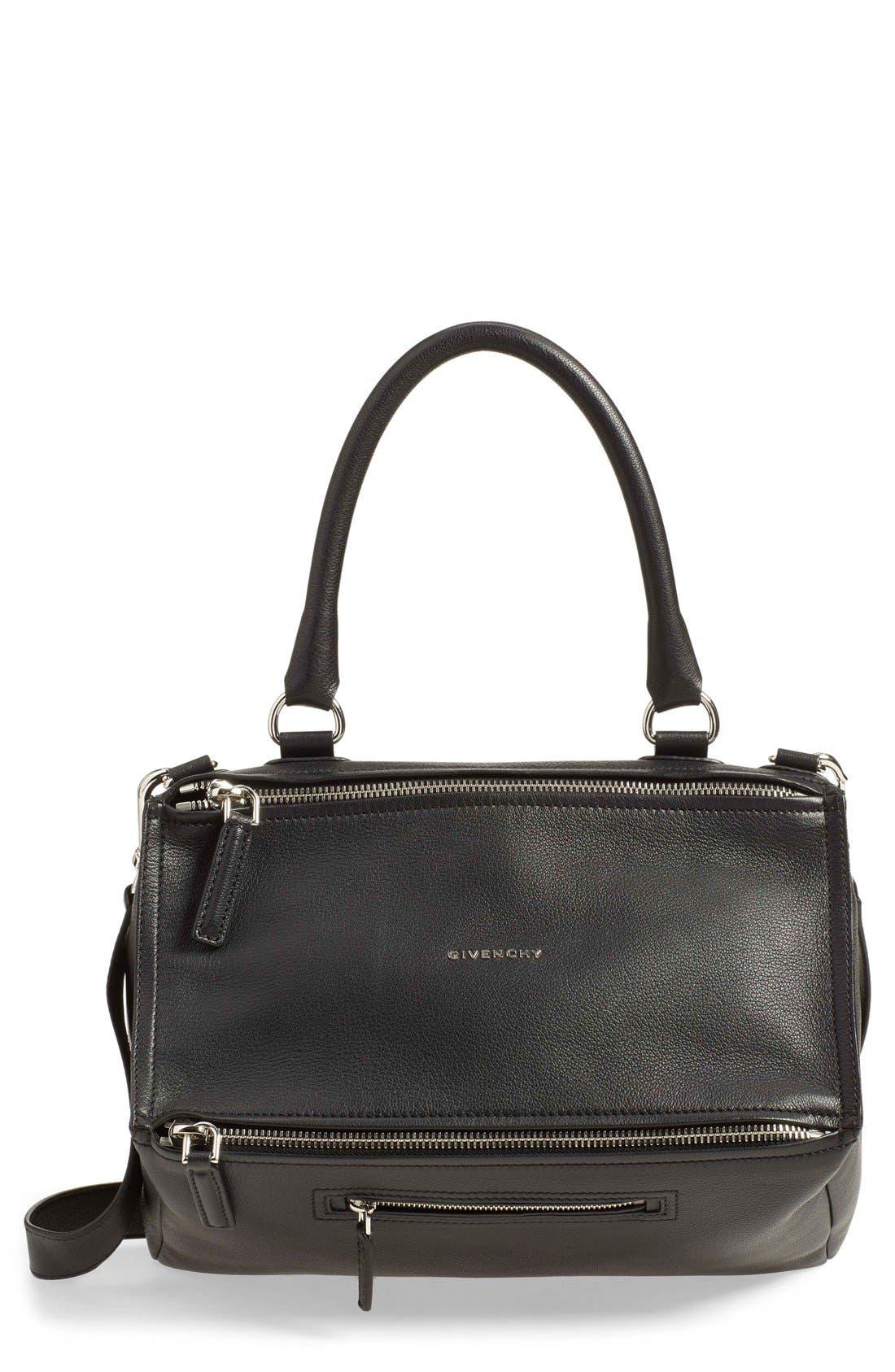 'Medium Pandora' Sugar Leather Satchel,                             Main thumbnail 1, color,                             Black