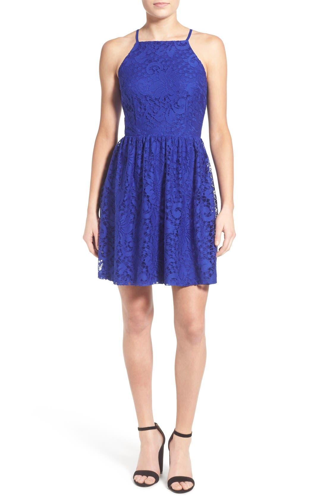 Main Image - Speechless Lace High Neck Skater Dress