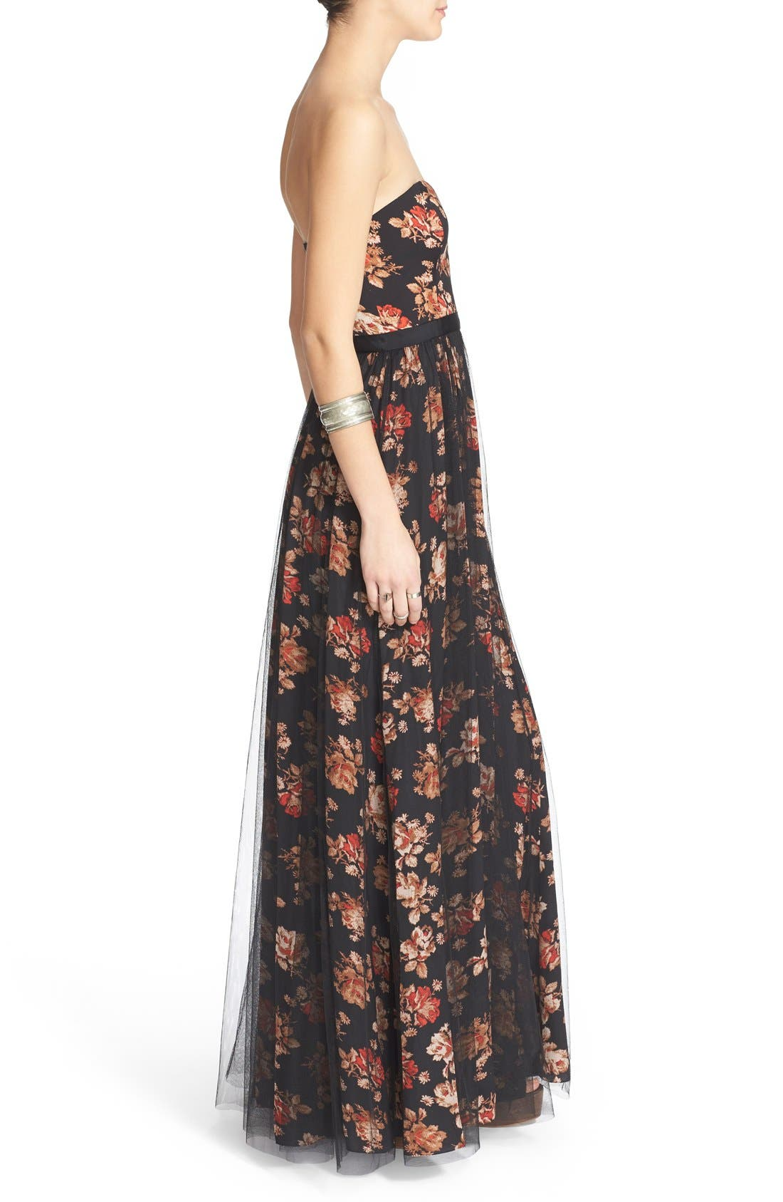 Alternate Image 3  - Free People Floral Print Plunge Gown