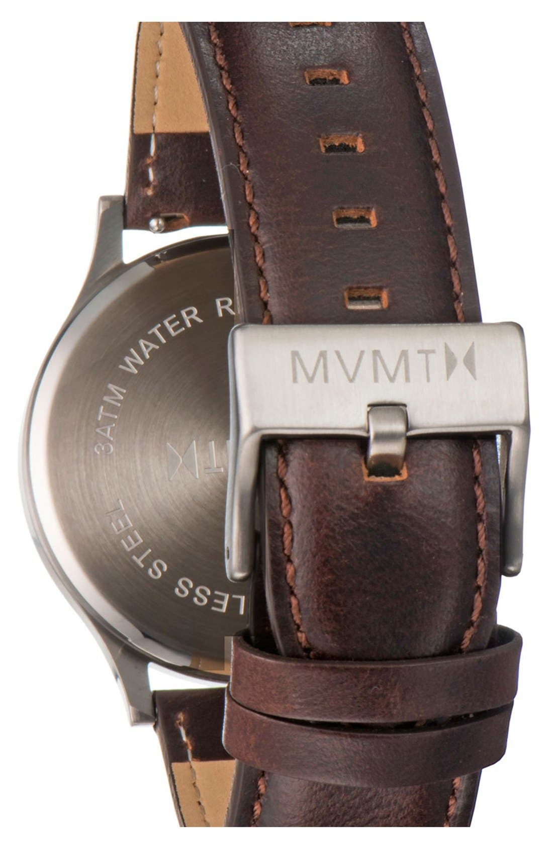 Leather Strap Watch, 40mm,                             Alternate thumbnail 2, color,                             Brown/ Silver/ Blue