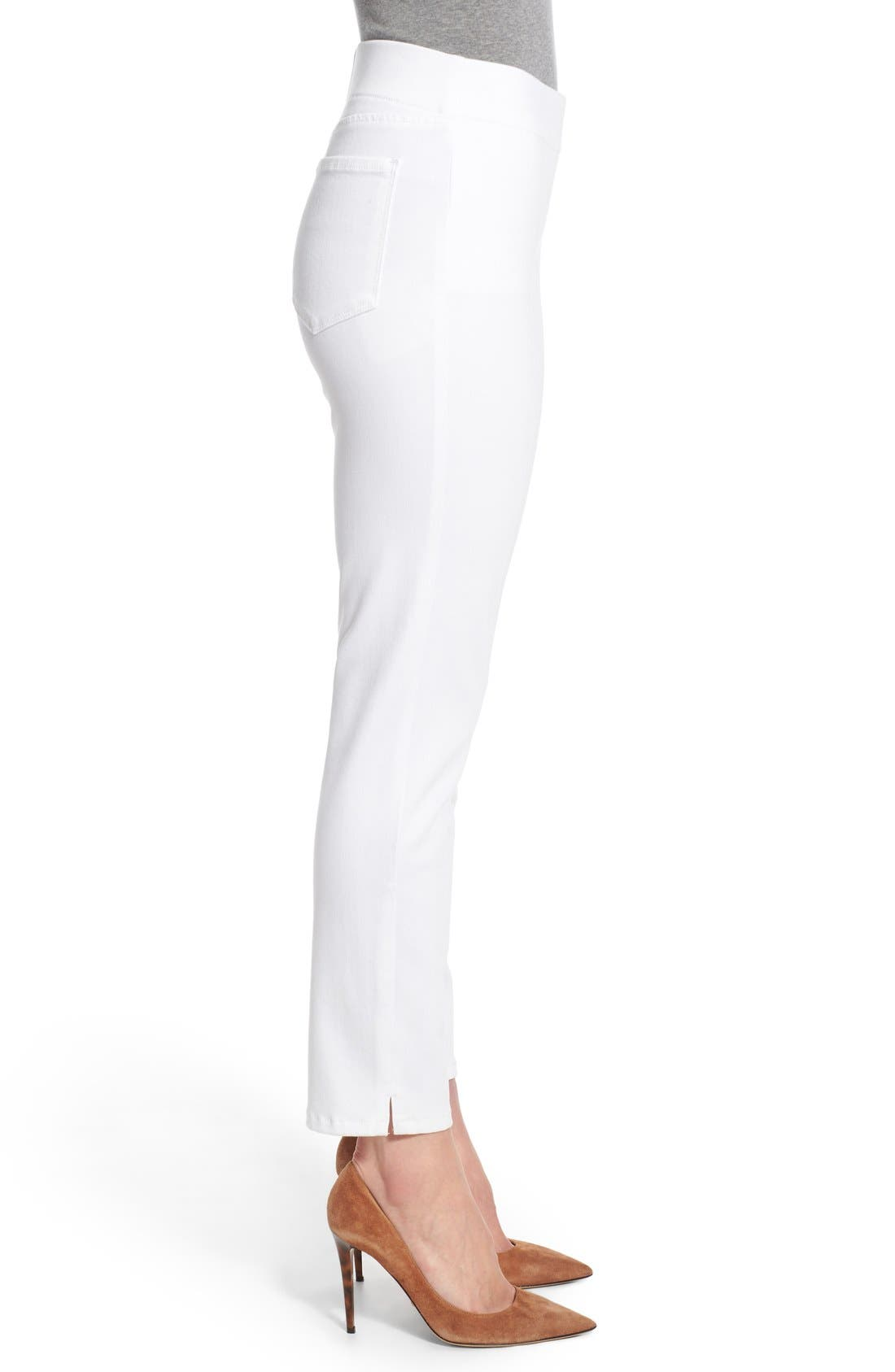 'Millie' Pull-On Stretch Ankle Skinny Jeans,                             Alternate thumbnail 3, color,                             Endless White