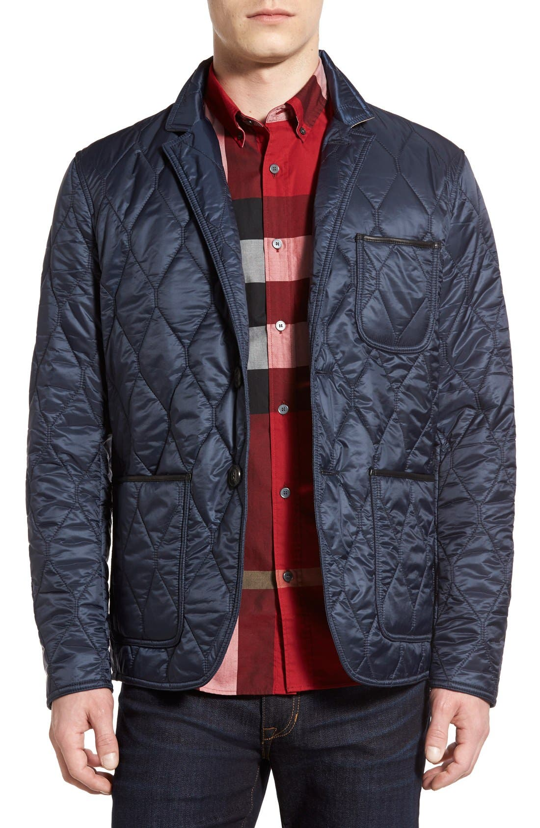 Gillington Water Resistant Quilted Jacket,                         Main,                         color, Navy Blue