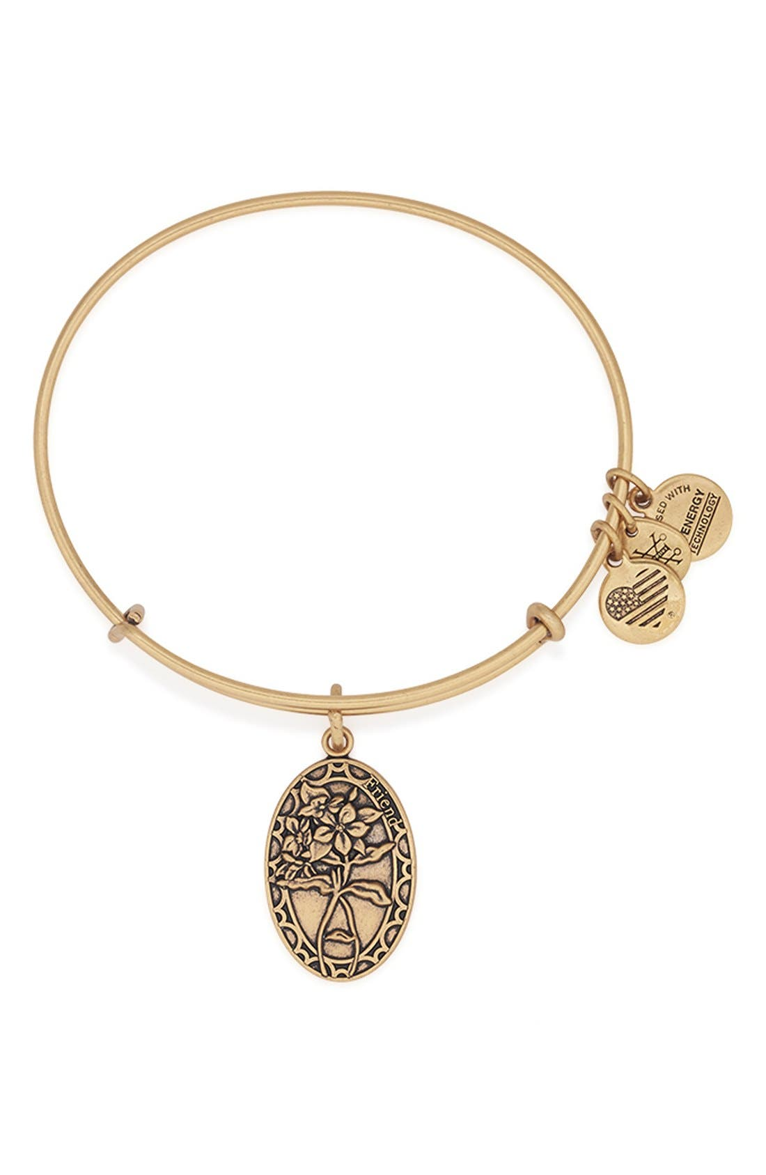 'I Love You Friend' Expandable Wire Bangle,                         Main,                         color, Gold
