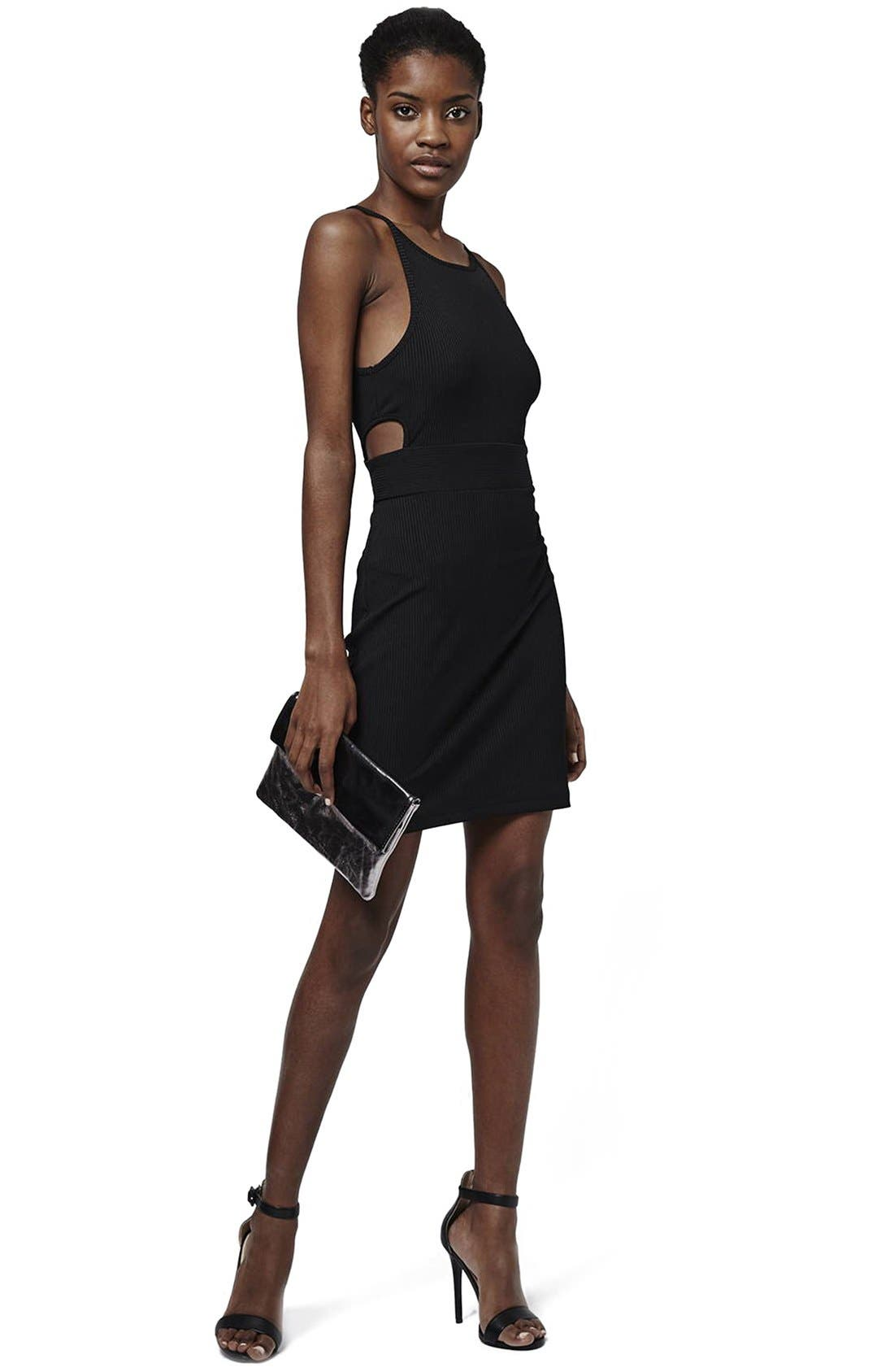 Alternate Image 2  - Topshop 'Sporty' Ribbed Knit Body-Con Dress (Petite)