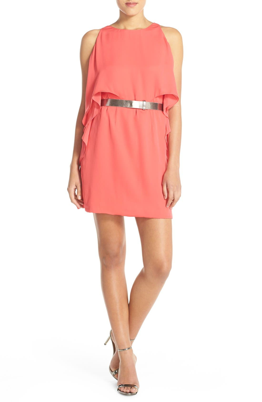 Main Image - Halston Heritage Ruffled Georgette Popover Dress