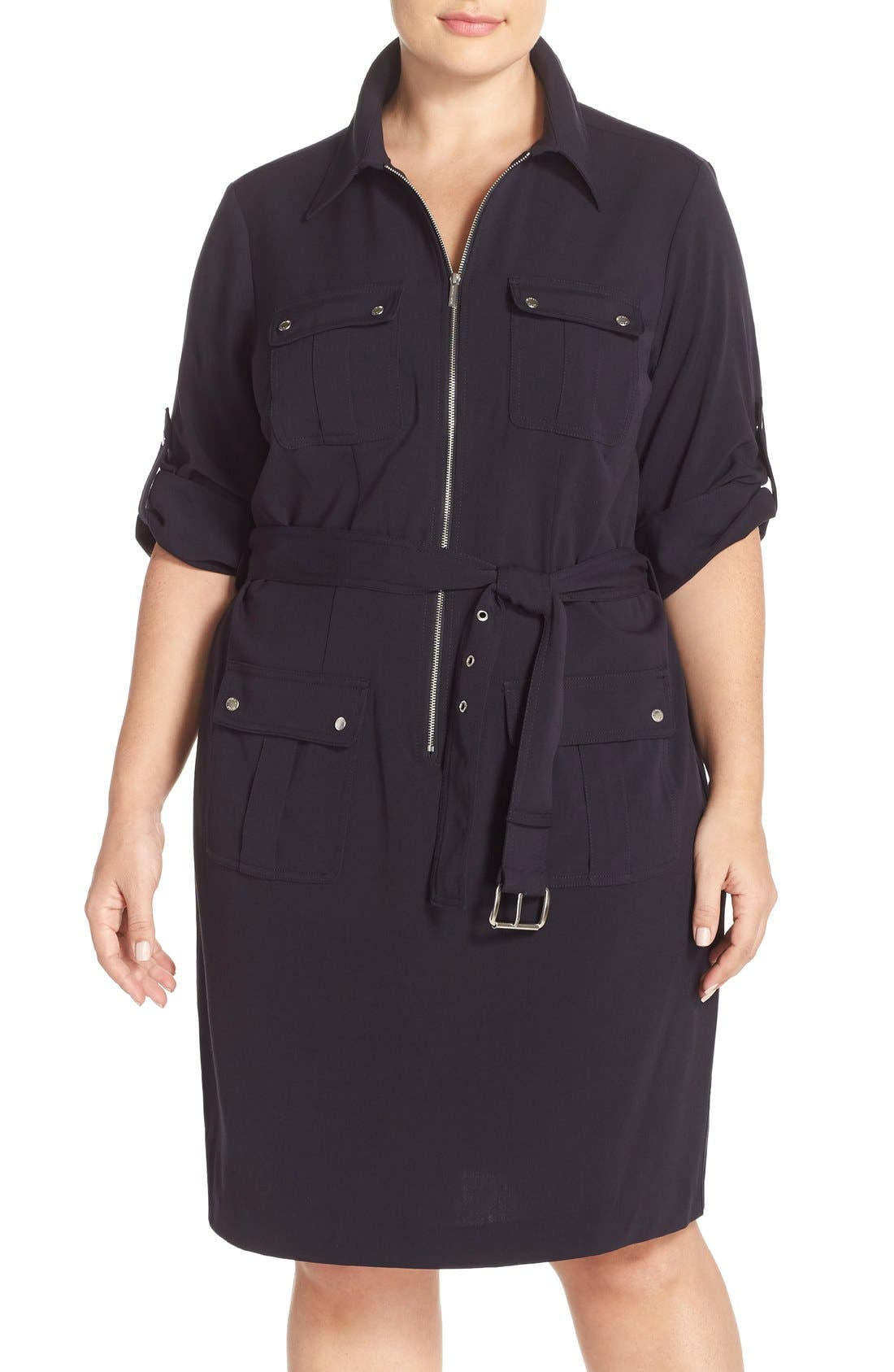 Alternate Image 1 Selected - MICHAEL Michael Kors Belted Utility Shirtdress (Plus Size)