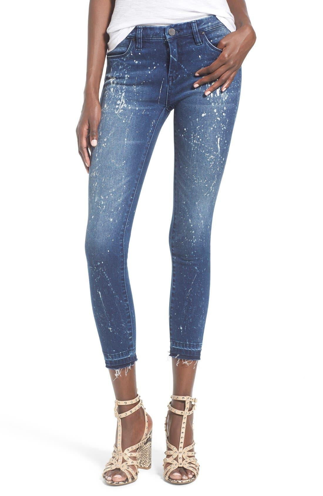Main Image - BLANKNYC Paint Splatter Crop Skinny Jeans (Reef Blower)