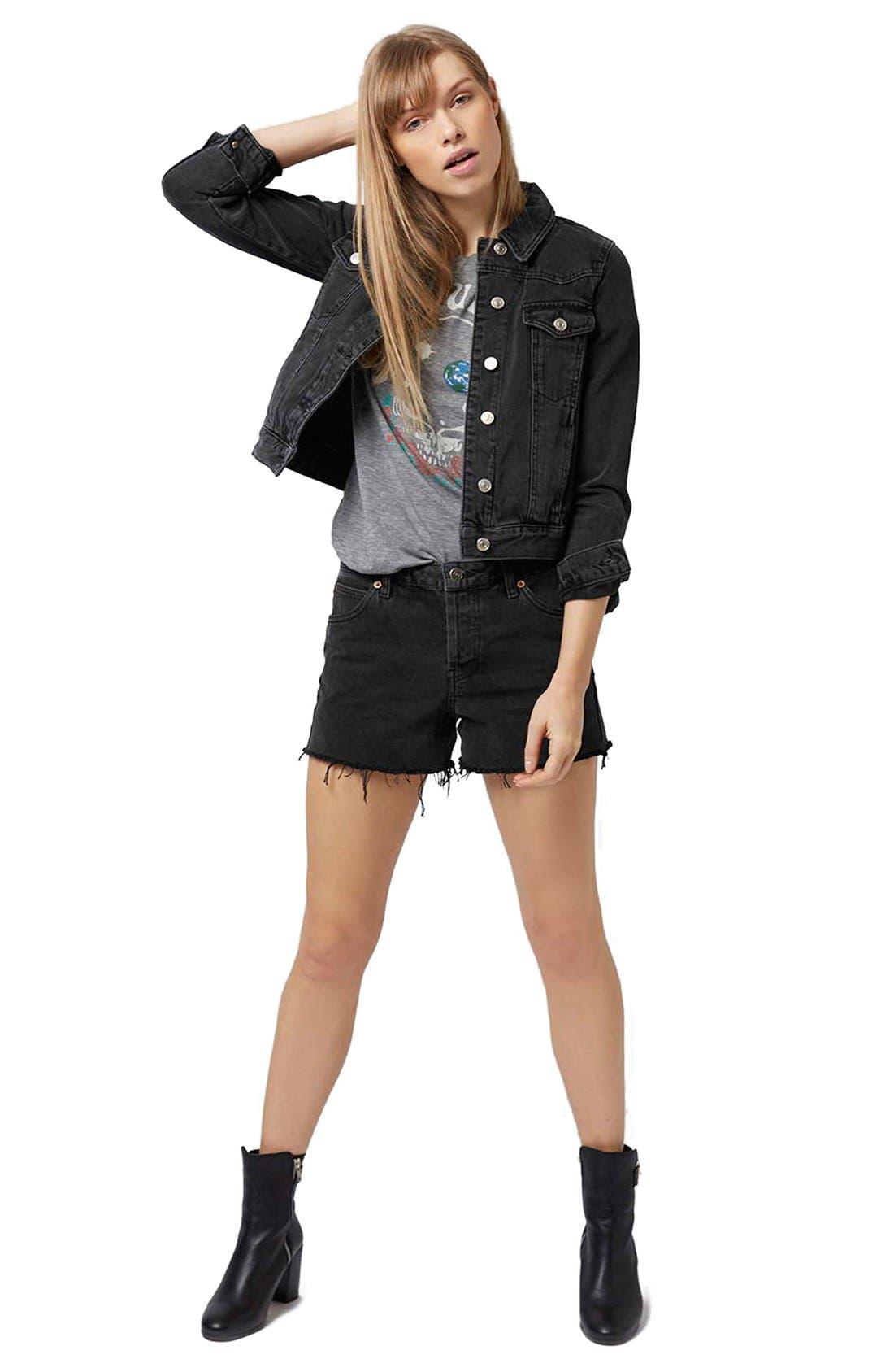 Alternate Image 2  - Topshop Moto 'Tilda' Washed Denim Jacket (Black)