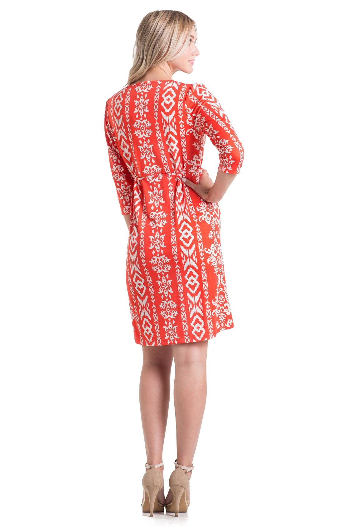 Print Maternity Dress,                             Alternate thumbnail 2, color,                             Tomato Ikat
