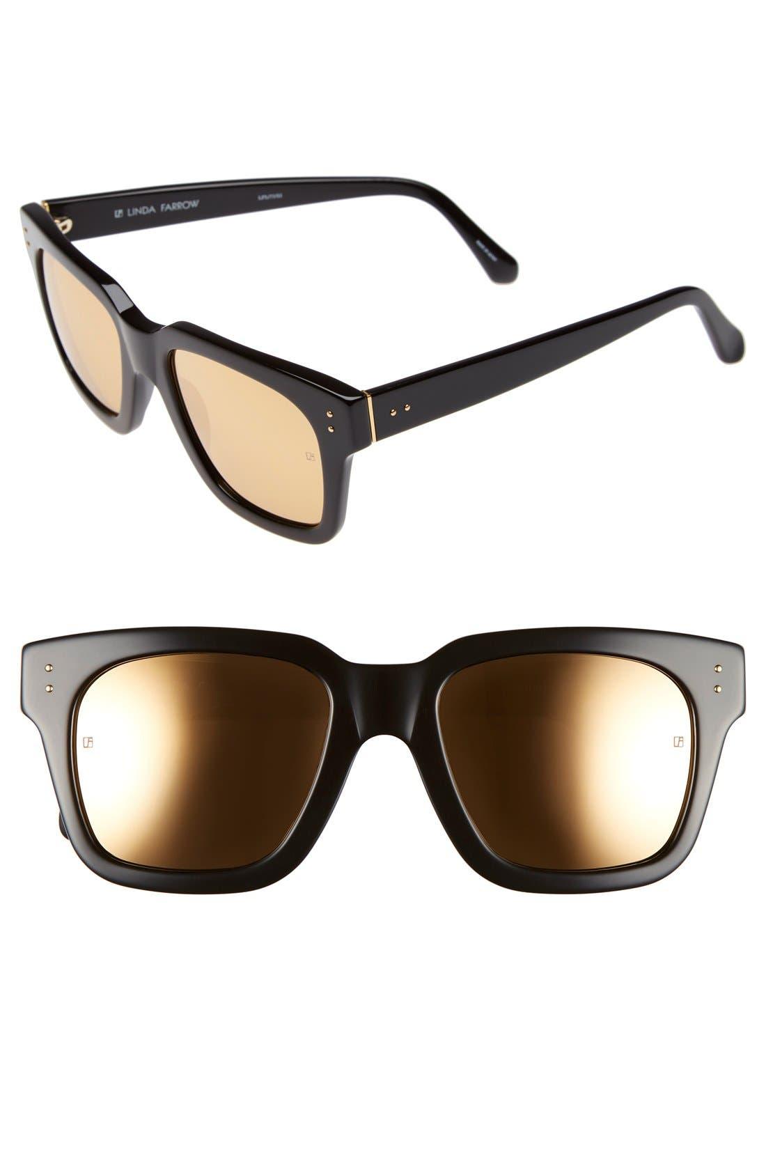 'D-Frame' 52mm Mirrored Lens Sunglasses,                             Main thumbnail 1, color,                             Black/ Gold