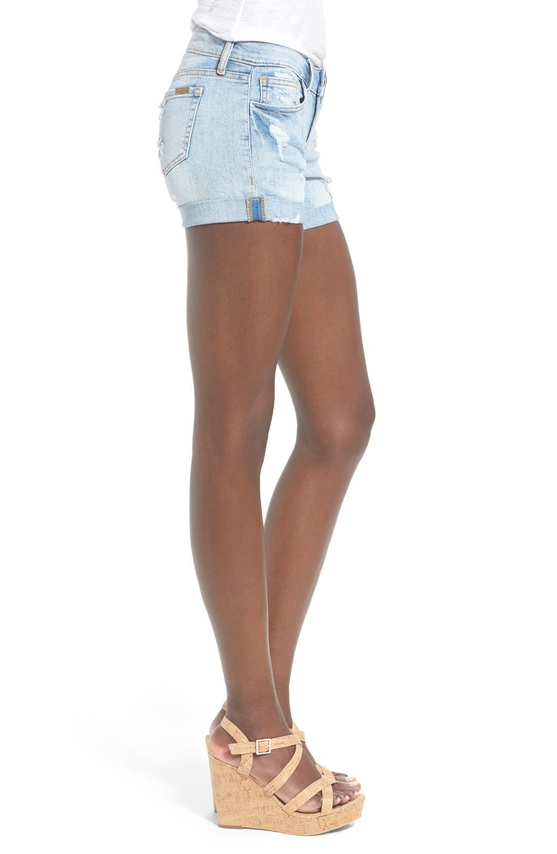 Distressed Rolled Denim Shorts,                             Alternate thumbnail 3, color,                             Light Wash