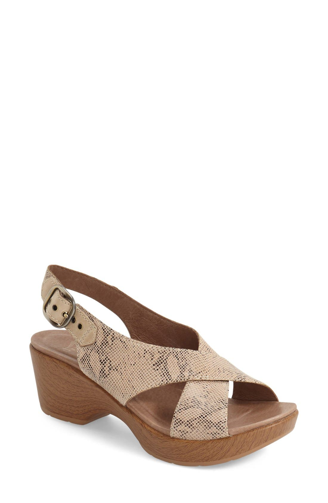 'Jacinda' Sandal,                             Main thumbnail 1, color,                             Taupe Snake Leather